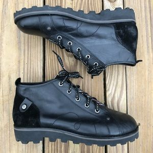 LONDON UNDERGROUND Black Lace Up Leather Boots 10